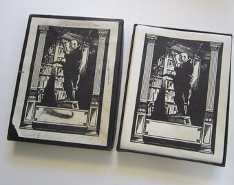 25 vintage bookplates - man in LIBRARY - partial box