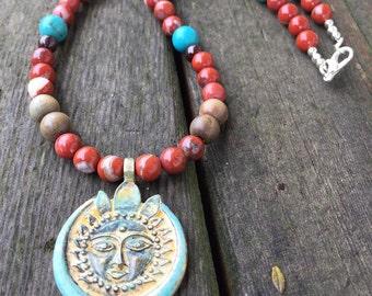 Sacred Sun Talisman Necklace . Tibetan Sandalwood Red River Jasper Garnet and Turquoise Beaded Jewelry