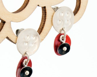 Red, Black and Silver Post Earrings – Poppies Collection