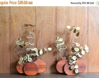SALE 25% OFF vintage wood and metal plant wall hangings / midcentury rustic home decor / brass and wood