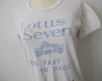 Vintage Graphic Lotus Seven Car Faded Distressed Thin T Shirt