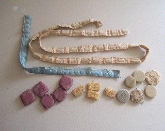 Lot of Seldom Seen Vintage Dress Skirt Hem Weights with Fabric Covering Sewing Supplies