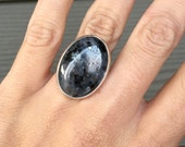 Stunning Unique Large Oval Larvikite Black Grey Silver Statement Sterling Silver Ring