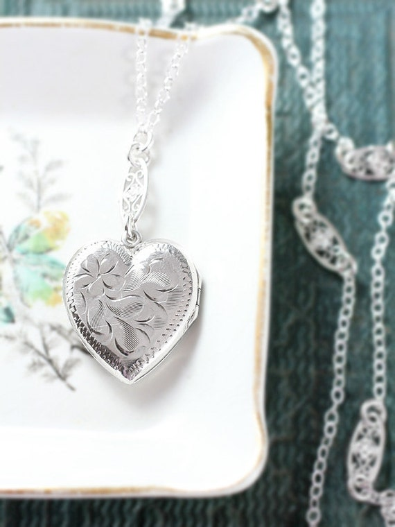 Sterling Silver Heart Locket Necklace, Vintage Photo Pendant with Special Filigree Chain - Elegant Tradition