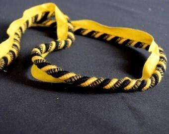 Black and Gold Fabric Lip Cord Trim