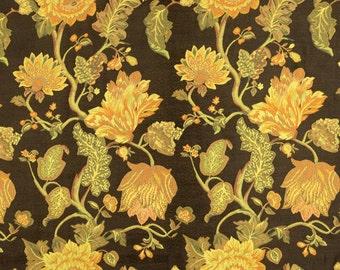 Sabrina Sahara Metallic Brown Gold Floral Upholstery Fabric