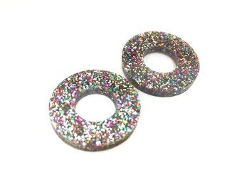 doughnuts hollow circle laser cut earrings (choose your colour) tri, glittler, teal, black, rose, silver, gold, magenta, multi,mirror