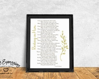 Resting in Him – 8×10 Inspirational Art Print, Sympathy Print, Comfort, Care and Concern,Inspirational Print, Typography