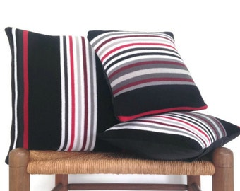 Knit Sweater Pillow Covers Set of 3 Covers Retro Decor Striped Knit Pillows Black Red Gray 16 Inch 12 Inch Cushion covers