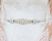 RESERVED- Rose Gold Crystal Bridal Belt- SWAROVSKI- Rhinestone, Sequin and Pearl Bridal Sash