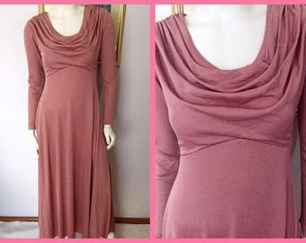 Vintage 70s does 40s Avant Garde Style shimmery Dusty Rose Maxi Dress by I.Magnin.Medium.Budt 36-38.Waist 28-30.