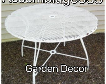 RESERVED FOR PAULA / Wrought Iron GardenTable /Garden Table / Mid century /  Woodard /  Mesh Top / 42""