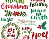 ON SALE Christmas Watercolor Sentiments, Brush Lettering, Merry Christmas, Hand Lettered Christmas Phrases, Watercolor Christmas, Photo Over