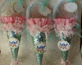 spring tussie mussie gift cone may day gift wrap party favors hostess gift paper mache cone candy containers vintage birds paper ornament
