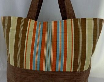 Extra Large Beach Tote, Diaper BAG, Knitting BAG, Work Purse, Pool BAG, Shopping Bag,  Brown Stripes