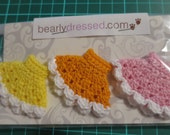 3 Pack Of Crochet Cupcake Petite Blythe Dresses