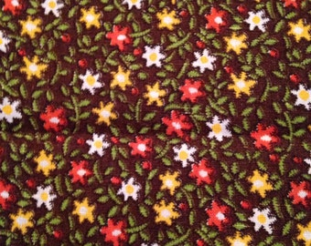 Vintage Calico Cotton Fabric Floral Flowers Brown