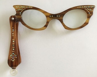 Vintage Retro Cats Eye Folding Lorgnette Reading Glasses with Original Case