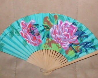 Antique Hand Painted Japanese Folding Fan circa 1950