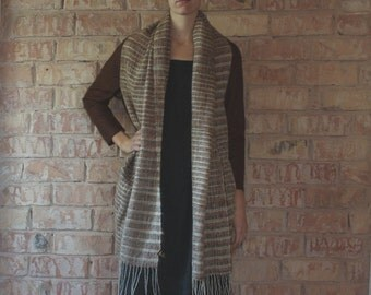 Brown and gray striped felted wool oversized jacket, cardigan, coat, with side pockets, size M, upcycled and sustainable