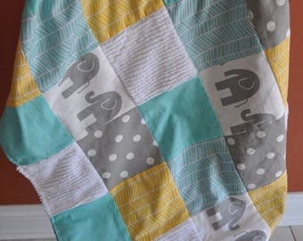 MADE to ORDER Baby Infant Toddler Gender Neutral , Patchwork 30x35 Crib Blanket, Aqua Yellow Accents and Grey Gray Elephants