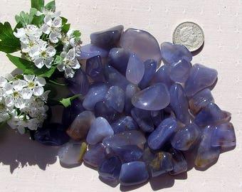 10 Blue Chalcedony Crystal Tumblestones, Blue Crystals, Crystal Collection, Chakra Crystals, Meditation Stone, Worry Stone, Harmony Stone