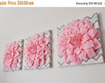 "SALE THREE Wall Flower Decor -Light Pink Dahlia on Pink and Gray Chevron 12 x12"" Canvas Wall Art- Baby Nursery Wall Decor-"