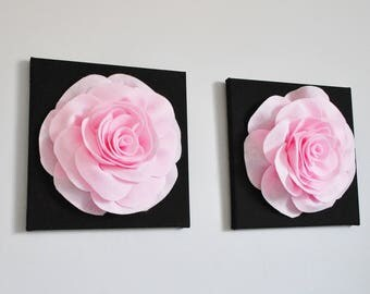 Pink Rose Wall Art, Wool Felt Wall Hanging, flower wall hanging, nursery wall art, pink and black floral wall hanging, French Inspired Baby