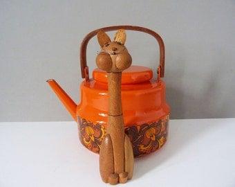 Vintage wooden cat corkscrew and bottle opener Gunnar Flörning