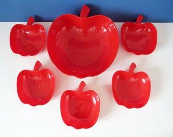 plastic apple shaped bowls dishes vintage set