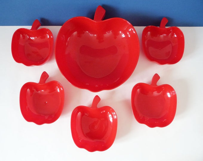 plastic apple shaped bowls dishes vintage set