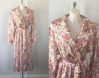 Vintage Rose Print Robe, DiBan, 1970s Ladies Robe, Dressing Gown, Vintage Dressing Gown, Romantic, Floral Dressing Gown Robe