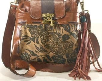 "Leather purse, medium, cross body, toffee brown, wildflower print, ""Madrid Crossbody"""
