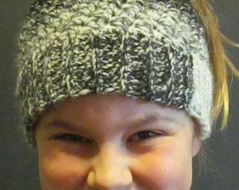 Crochet Messy Bun Hat ~ Size Medium
