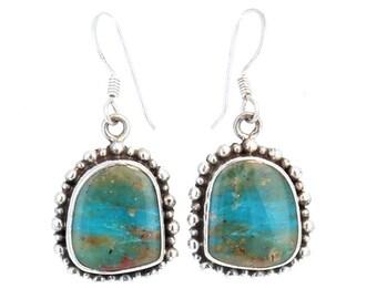 PERUVIAN OPAL EARRINGS Dot Design #2 Sterling Silver  NewWorldGems