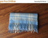 50% OFF Scottish Cashmere Scarf Plaid Blue and Cream Frangi Made in Scotland Vintage 80s Scarf 58inches