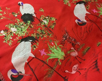"58"" Wide Exotic Chinese Brocade Fabric Floral Tropical Black Purple Red Lime Green Gold Metallic Stork Birds Tree Embroidered Flower Pattern"