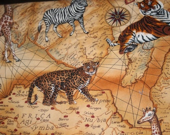 "2+ yards African Safari map Continent Wild Animals Giraffe Zebra Elephant cotton sewing quilt fabric 45"" wide v2"