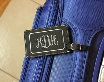 Personalized Luggage Tag, Monogram Luggage Tag, Black Luggage Tag