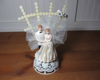 Vintage Bride & Groom Cake Topper, 1980, Made in New Zealand, Wedding, Decor, Collectible