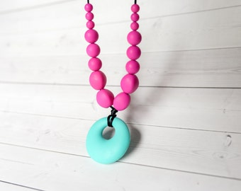 Silicone Teething Necklace - Nursing Necklace - Baby Teething Necklace - Silicone Beads - Chewelry - Chew Necklace - Mother's Day Gift