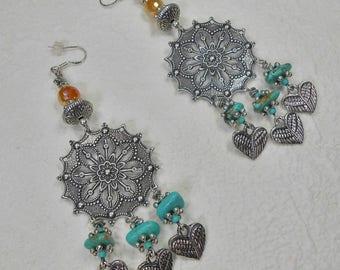 Boho Earrings Bohemian Earrings Jewelry Dangle Silver Earrings Ethnic Hippie Gypsy Howlite Turquoise Chandeliers Gifts - WINGS OF PLENTY