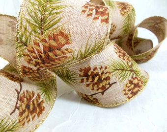 Rustic Christmas Ribbon with Glitter Pine Cones, Linen/Burlap Look, Wired, Wide, Floral Ribbon