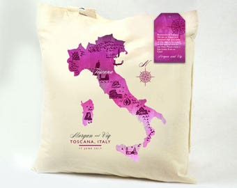 CONNIE Watercolor Tuscany Italy Map Custom Canvas Tote Sangria Swag Bag