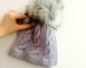 Ready To Ship Faux Fur Pom Pom Knitted Wool Hat Light Grey Cables Beanie Fleece Lined Winter
