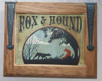 Fox and Hound Tavern/Trade sign, faux iron forged hinges, oak sign