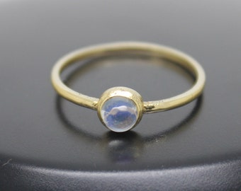 Moonstone Ring, 18k Solid Gold Ring, Thin Gold Ring, Stacking Ring, Stackable Ring, June Birthstone Ring