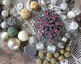 Petals                French Paste Locket Rosary Assemblage Vintage Necklace