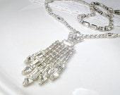 Designer Weiss Vintage Art Deco Rhinestone Necklace, Clear Crystal Silver Bridal Statement Necklace, 1940 Gatsby Wedding Old Hollywood Glam