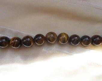 Bead, Tigereye, Gemstone, Natural, 10mm, Round, B Grade, Mohs hardness 7, Pack of 13 beads.